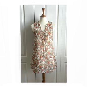 Tobi Floral Lined Lace up Tank dress Sz Small